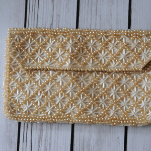 vintage beaded clutch purse bag wallet off white